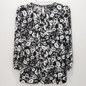 Karl Lagerfeld Top Floral Long Sleeve Pleat Front